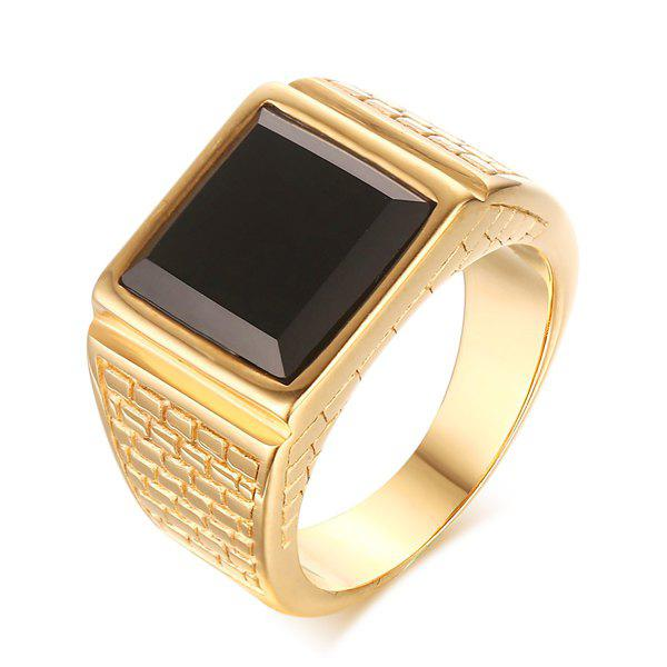Punk Style Faux Gem Square Shape Woven Carved Ring For Men - GOLDEN