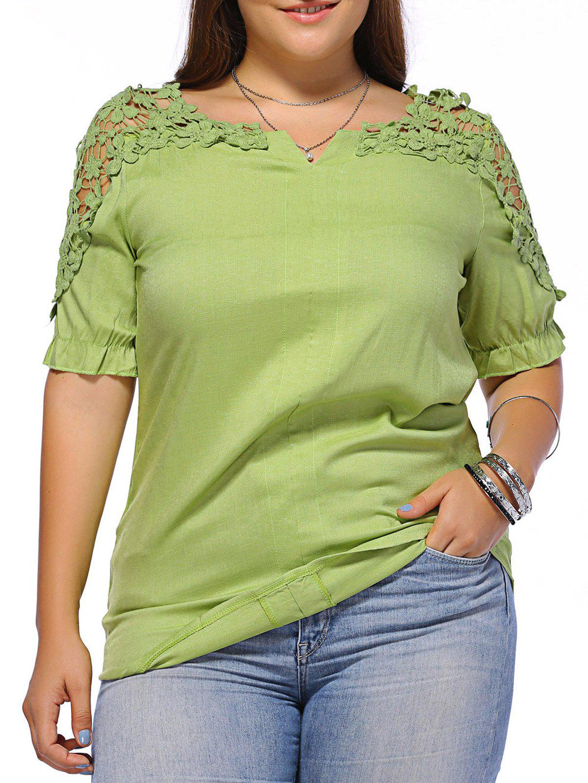 Sweet Plus Size Hollow Out Flower Pattern Women's Blouse - GREEN XL