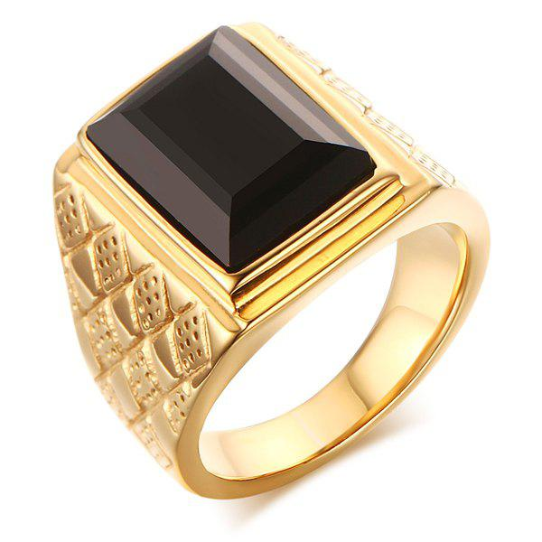Stylish Rectangle Faux Onyx Rhombus Ring For Men - GOLDEN