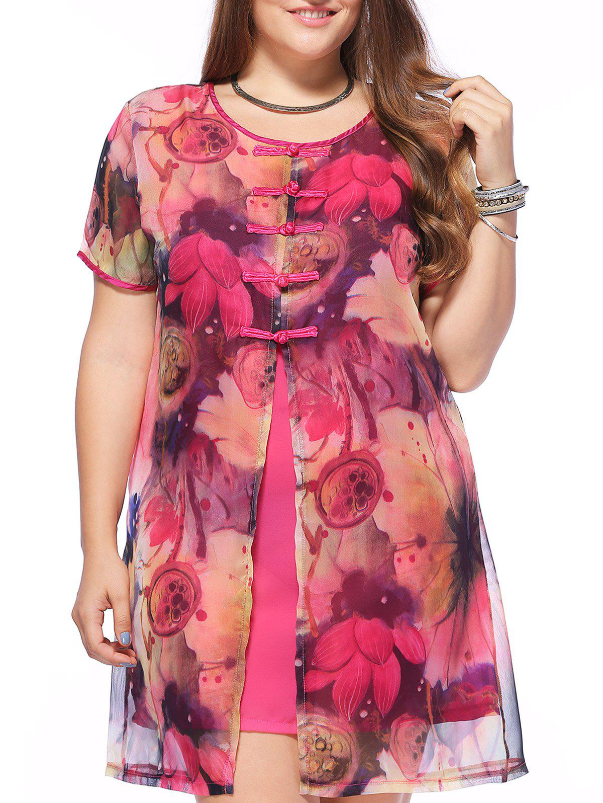 Elegant Plus Size Chinese Frog Button Lotus Print Women's Shift Dress - RED XL
