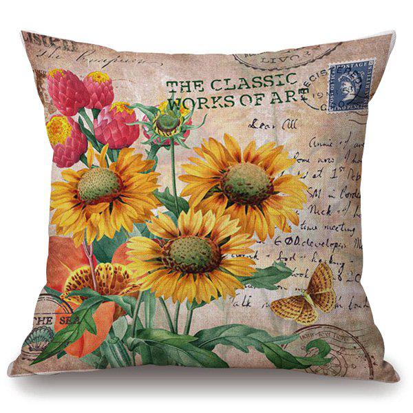 Hot Sale Sunflower Butterfly Stamp Letter Pattern Pillowcase