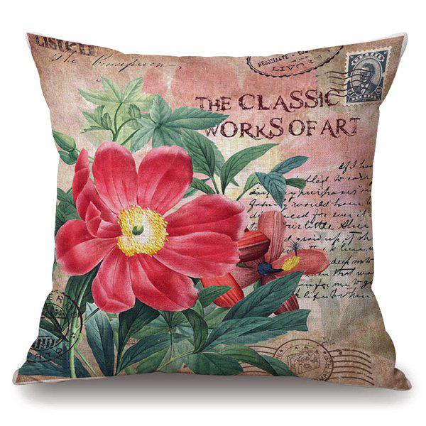 Hot Sale Red Flower Stamp Letter Pattern Square Shape Pillowcase