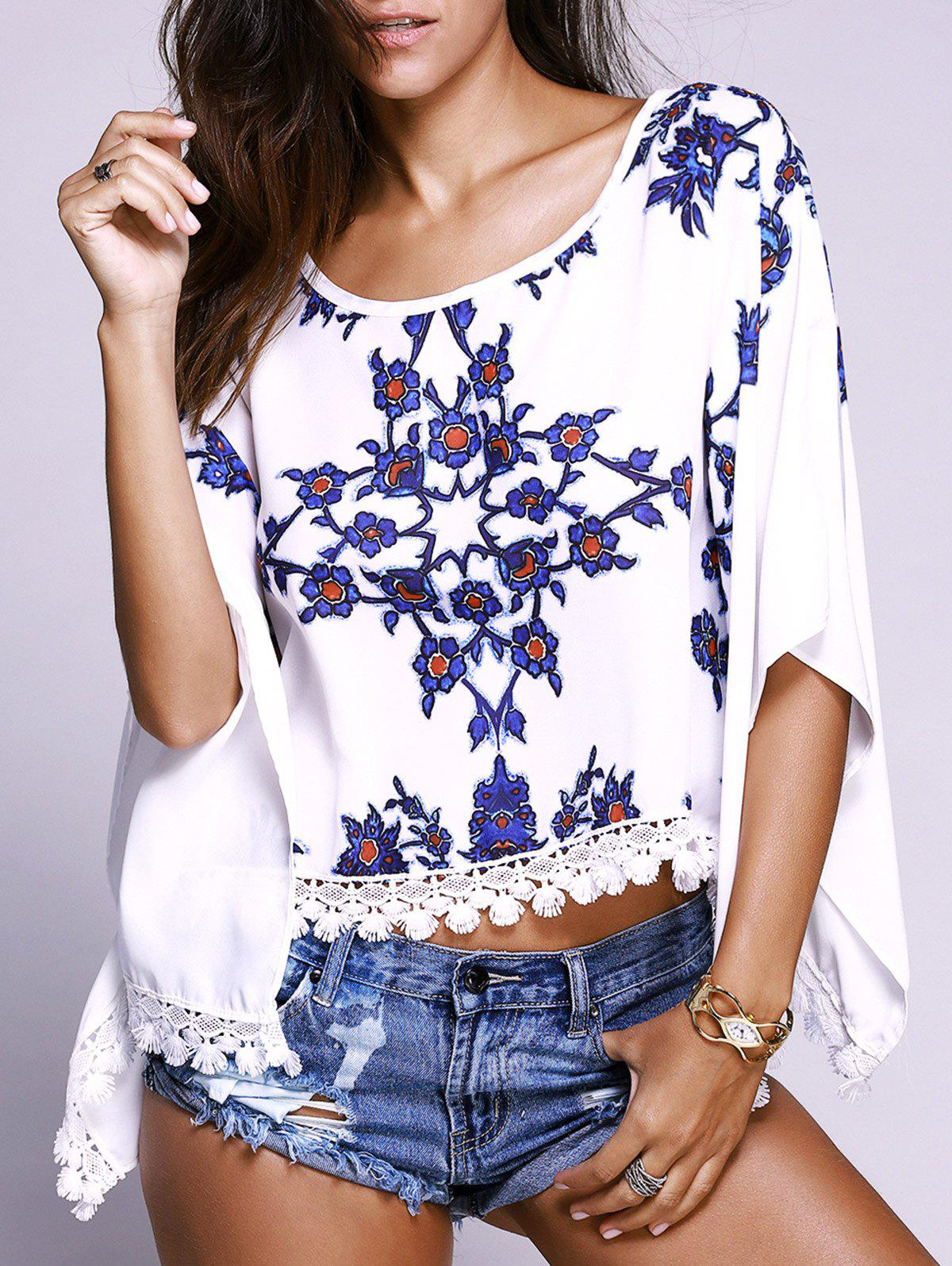 Floral Pattern Batwing Sleeves Lace Spliced Top - WHITE 2XL