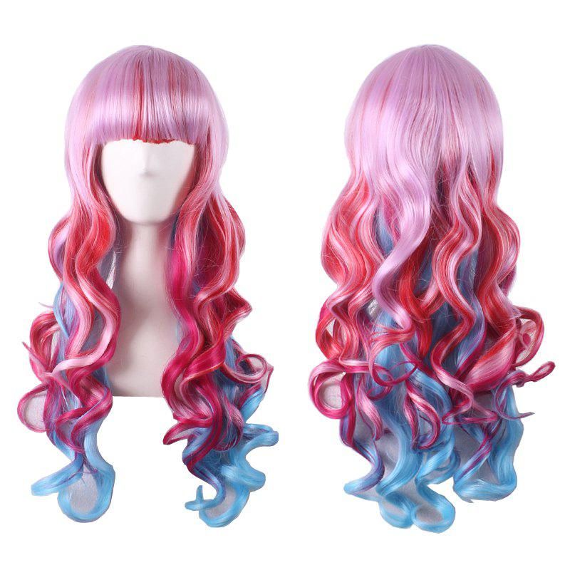 Women's Stylish Curly Long Full Bang Sythetic Ombre Cosplay Wig - COLORMIX