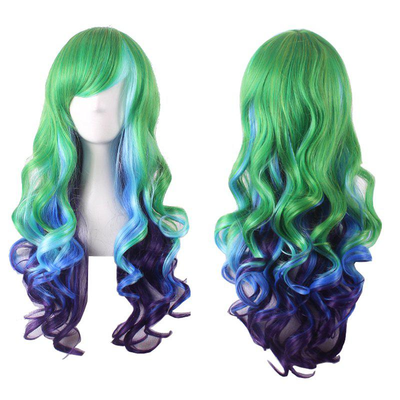 Women's Stylish Curly Long Side Bang Sythetic Ombre Cosplay Wig - COLORMIX