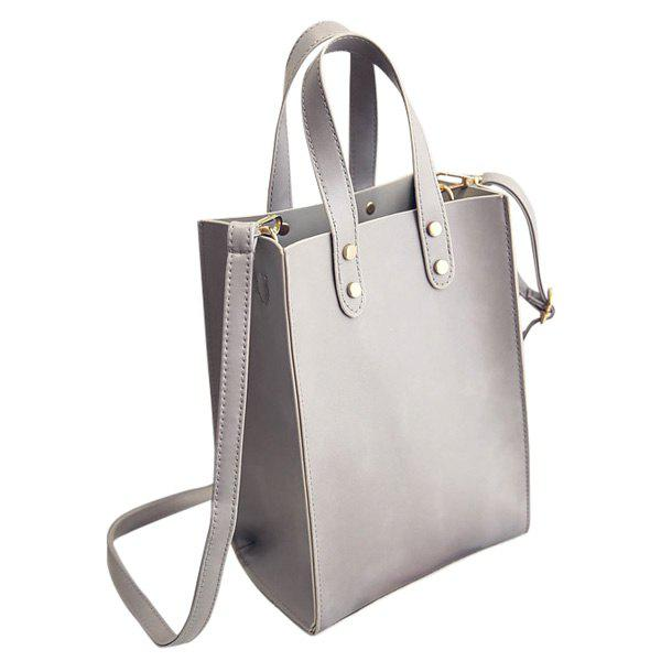 Concise Rivet and Solid Color Design Women's Tote Bag - GRAY