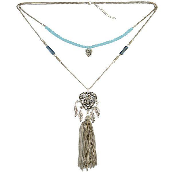 Gorgeous Owl Leaf Beads Sweater Chain For Women - SILVER