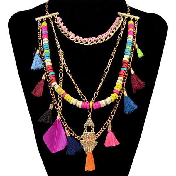 Chic Multilayered Feather Tassel Sweater Chain For Women - GOLDEN
