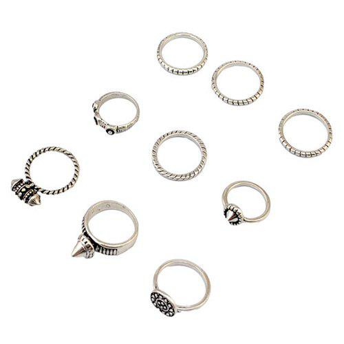 A Suit of Engraved Rivet Rings - SILVER ONE-SIZE
