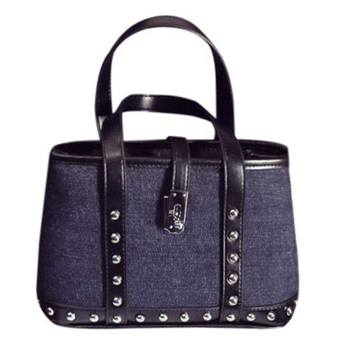 Stylish Splicing and Rivet Design Women's Tote Bag - BLACK