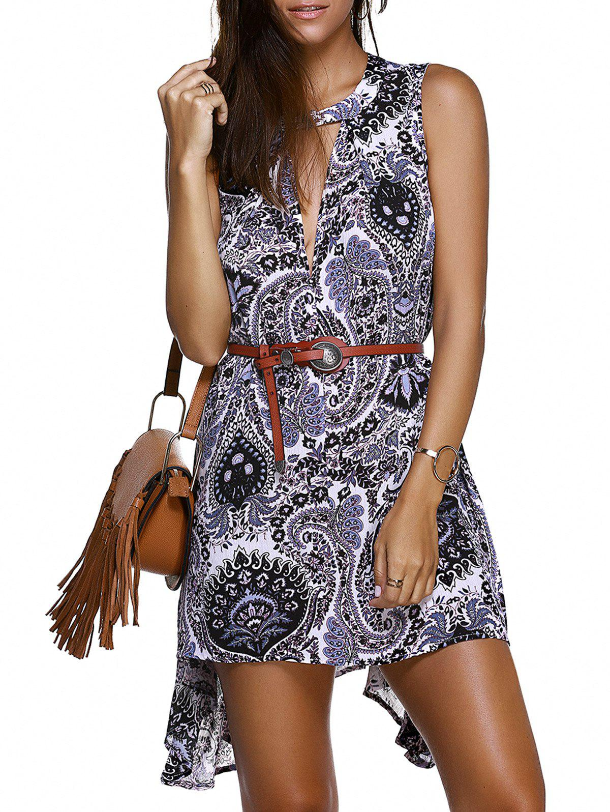 Paisley Asymmetric Plunge Keyhole Dress - COLORMIX 2XL