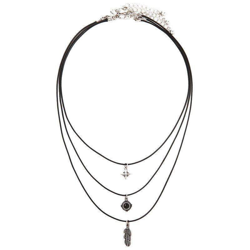 Feather Faux Gem Layered Necklace - BLACK