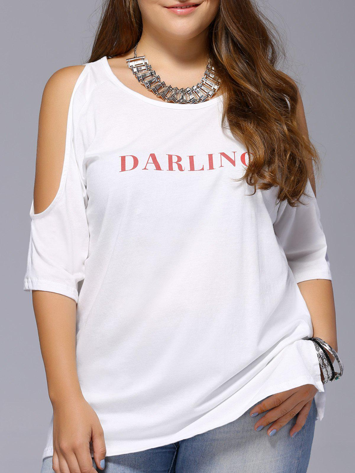 Chic Plus Size Letter Print Cold Shoulder Women's T-Shirt - WHITE XL