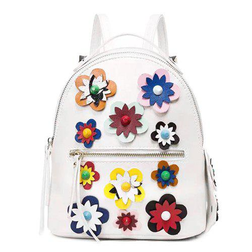 Casual Flower and Zip Design Women's Satchel - WHITE