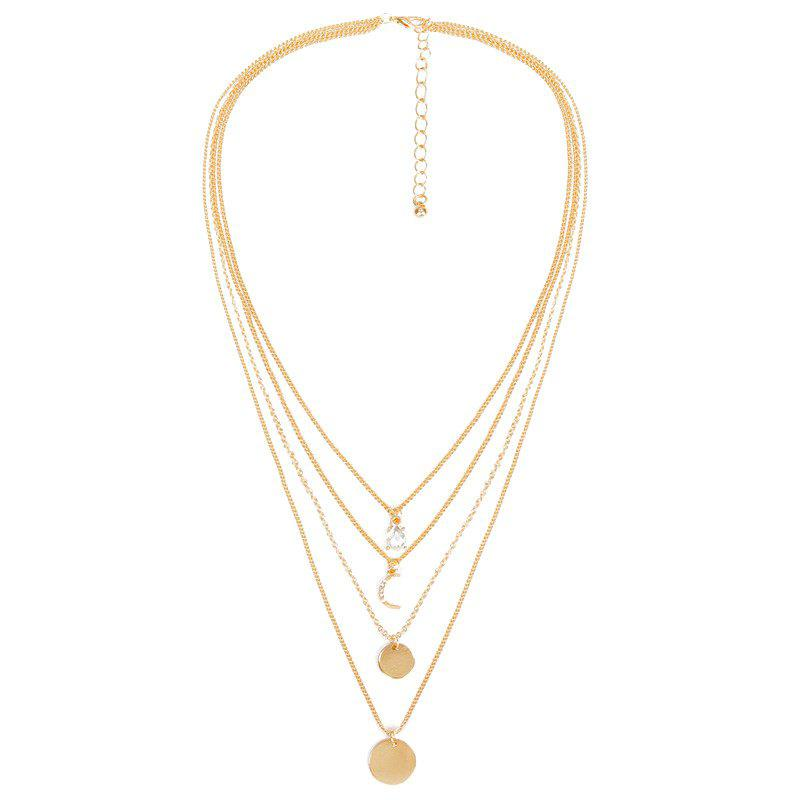 Rhinestone Faux Crystal Moon Layered Necklace - GOLDEN