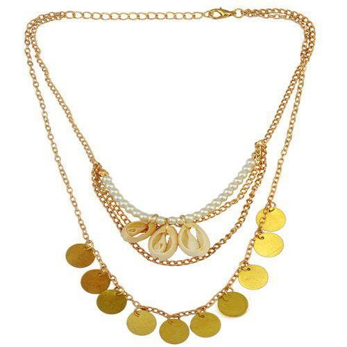 Retro Faux Pearl Coins Shell Necklace - GOLDEN