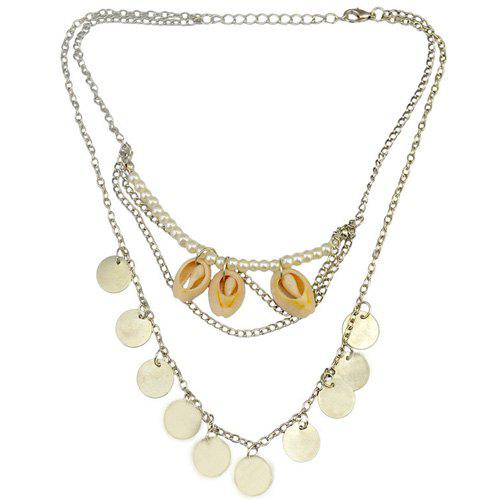 Retro Faux Pearl Coins Shell Necklace Jewelry - SILVER