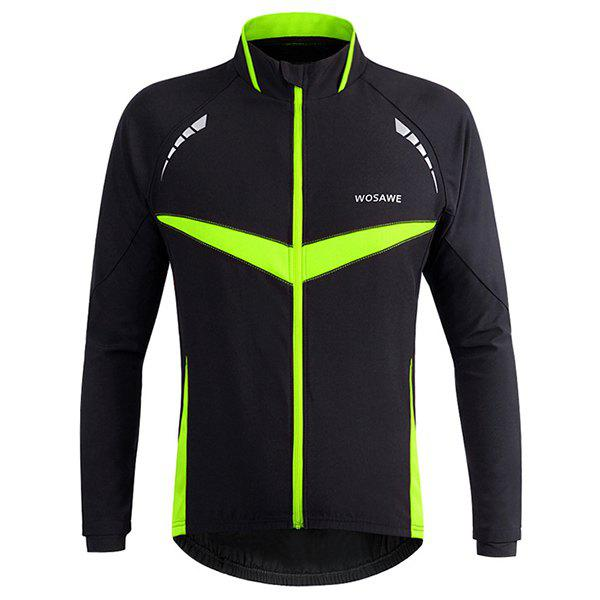 High Quality Long Sleeve Windproof Cycling Jacket For Unisex - BLACK/GREEN L