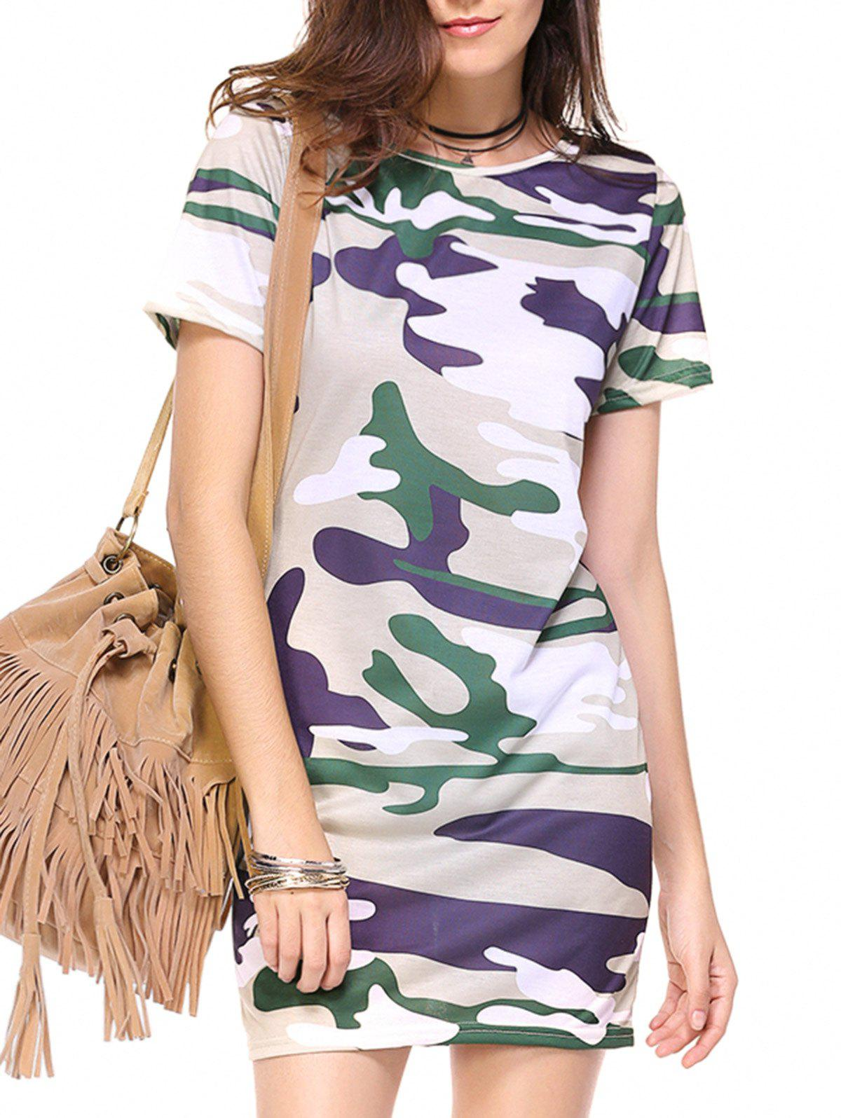 цены  Camo Print Mini Sheath Dress