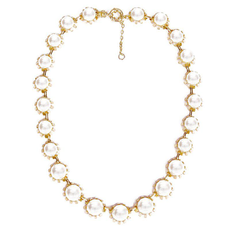 Faux Pearls Pendant Necklace - WHITE