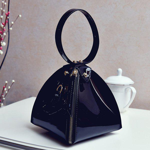 Trendy Solid Color and Zip Design Women's Clutch Bag - BLACK
