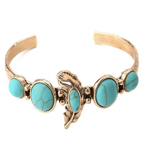 Faux Turquoise Feather Shape Cuff Bracelet - GOLDEN