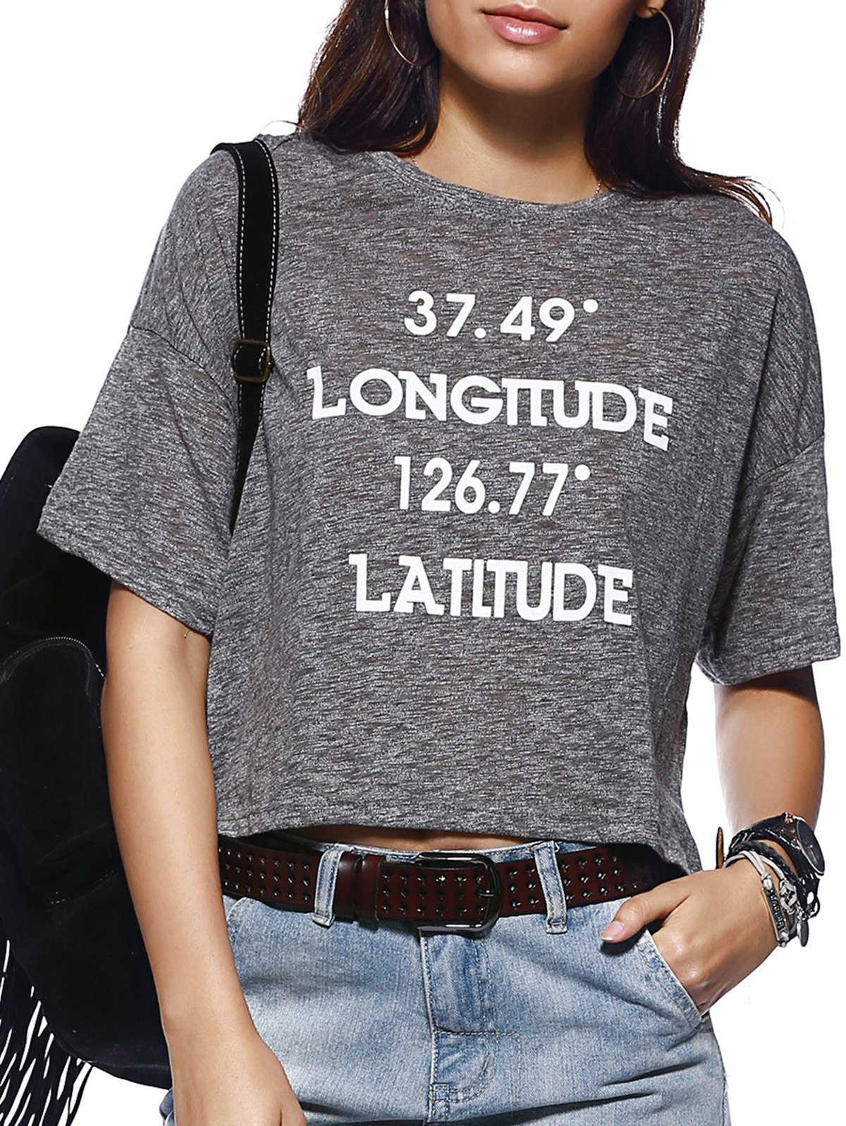 Preppy Style Short Sleeve Round Collar Letter Print Women's T-Shirt - GRAY ONE SIZE(FIT SIZE XS TO M)