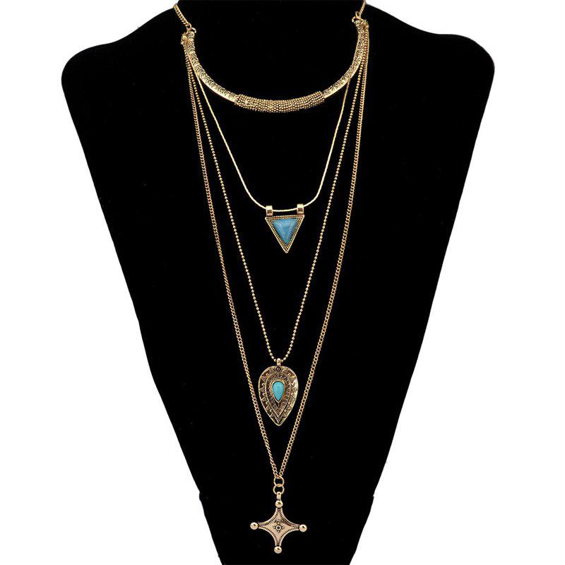 Chic Multilayered Faux Turquoise Geometric Sweater Chain For Women - GOLDEN