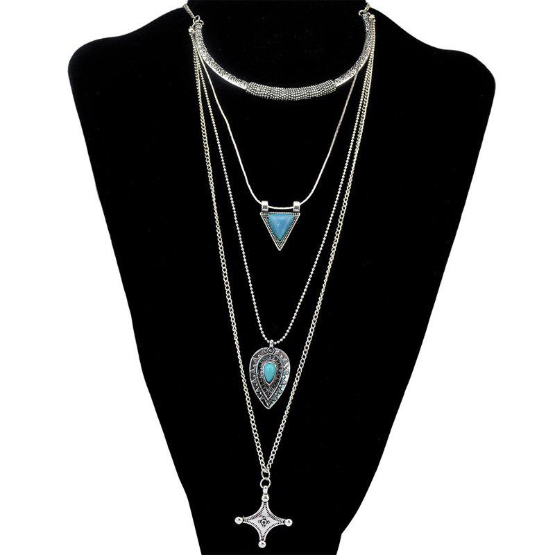 Charming Faux Turquoise Geometric Jewelry Sweater Chain For Women - SILVER