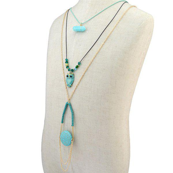 Delicate Layered Faux Turquoise Owl Sweater Chain For Women - GOLDEN