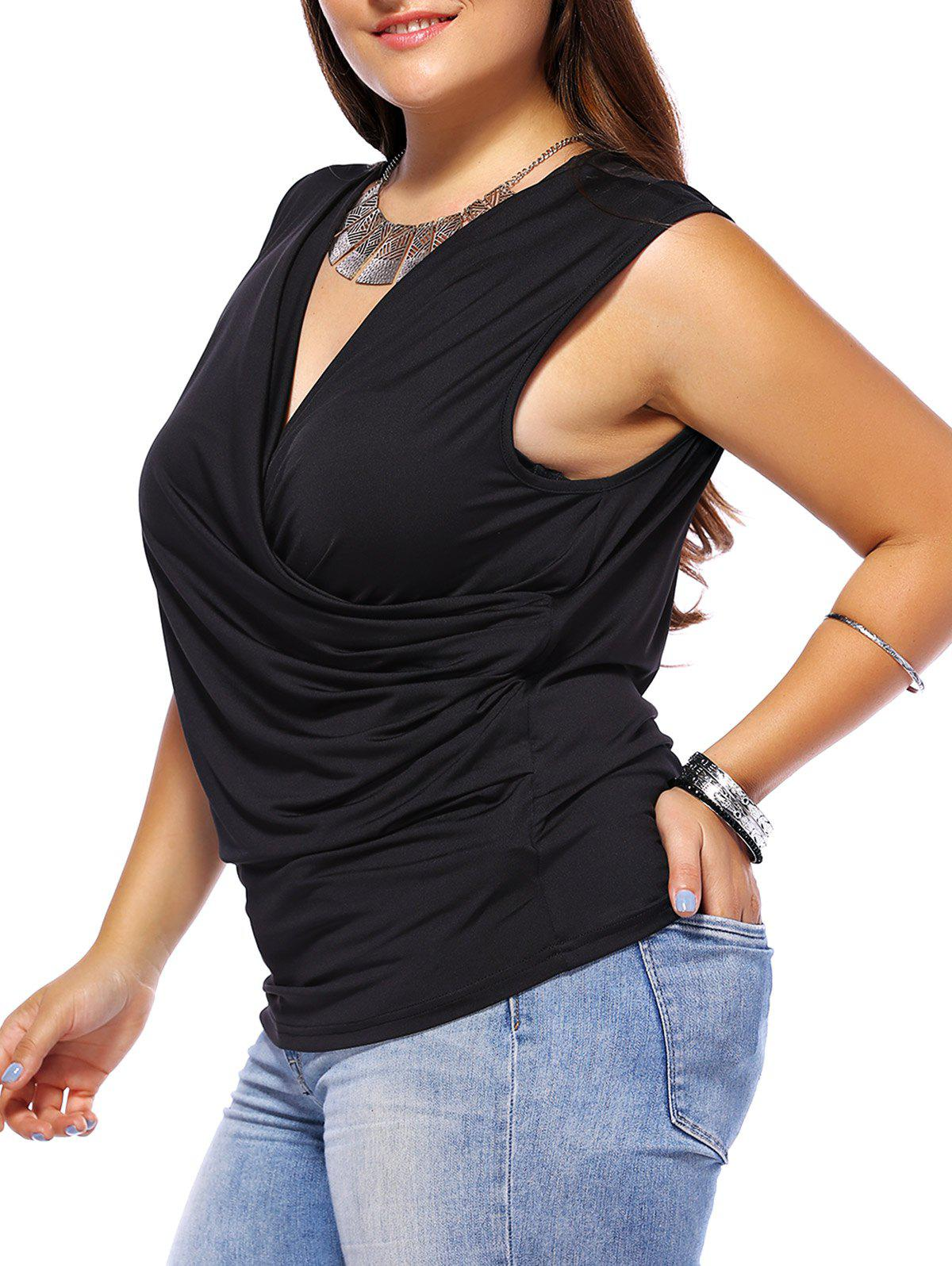 Plus Size Ruched Sleeveless Surplice Tee - BLACK 5XL