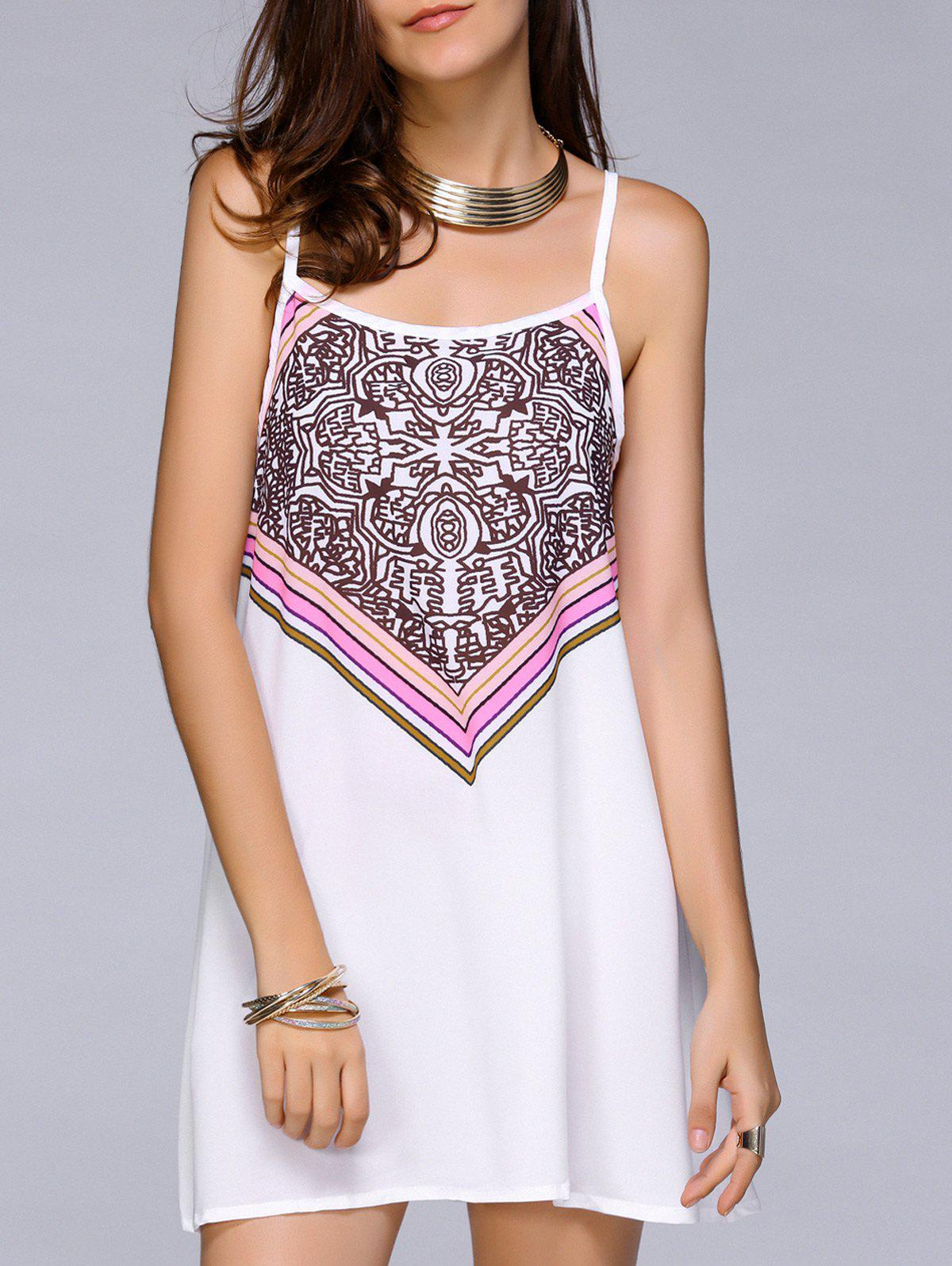 Printed Spaghetti Strap Chiffon Dress - WHITE XL