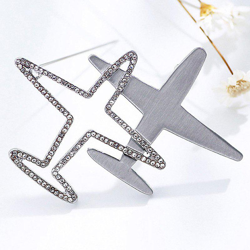 Rhinestone Airplane Brooch - SILVER