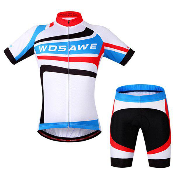 Fashionable Outdoor Windproof Short Sleeve Jersey + Shorts Cycling Suits For Men - COLORMIX 2XL