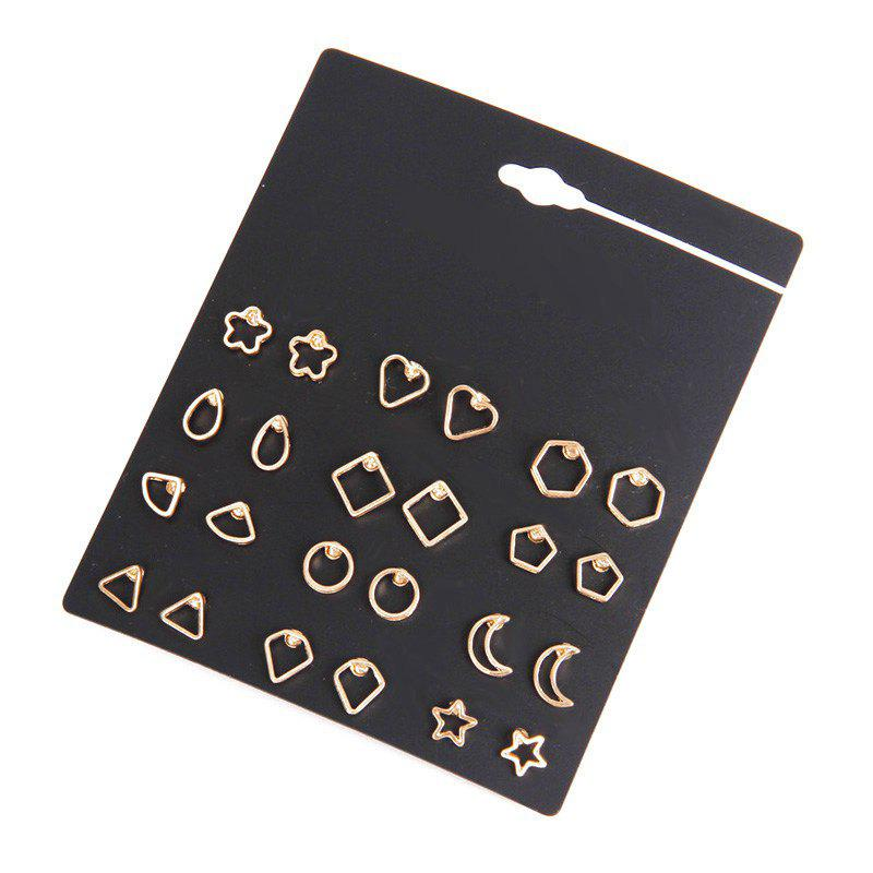 12 Pairs Geometric Cut Out Star Moon Stud Earrings - GOLDEN