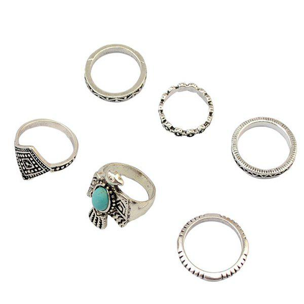 A Suit of Faux Turquoise Eagle Rings - SILVER ONE-SIZE