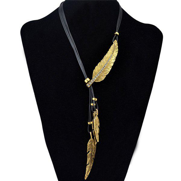 Delicate Faux Leather Rhinestone Leaf Sweater Chain For Women - GOLDEN