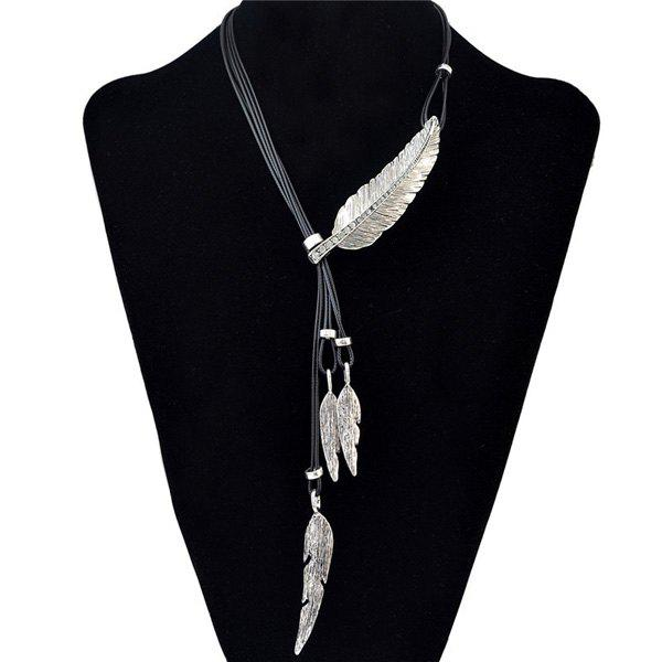 Delicate Faux Leather Rhinestone Leaf Sweater Chain Jewelry For Women - SILVER