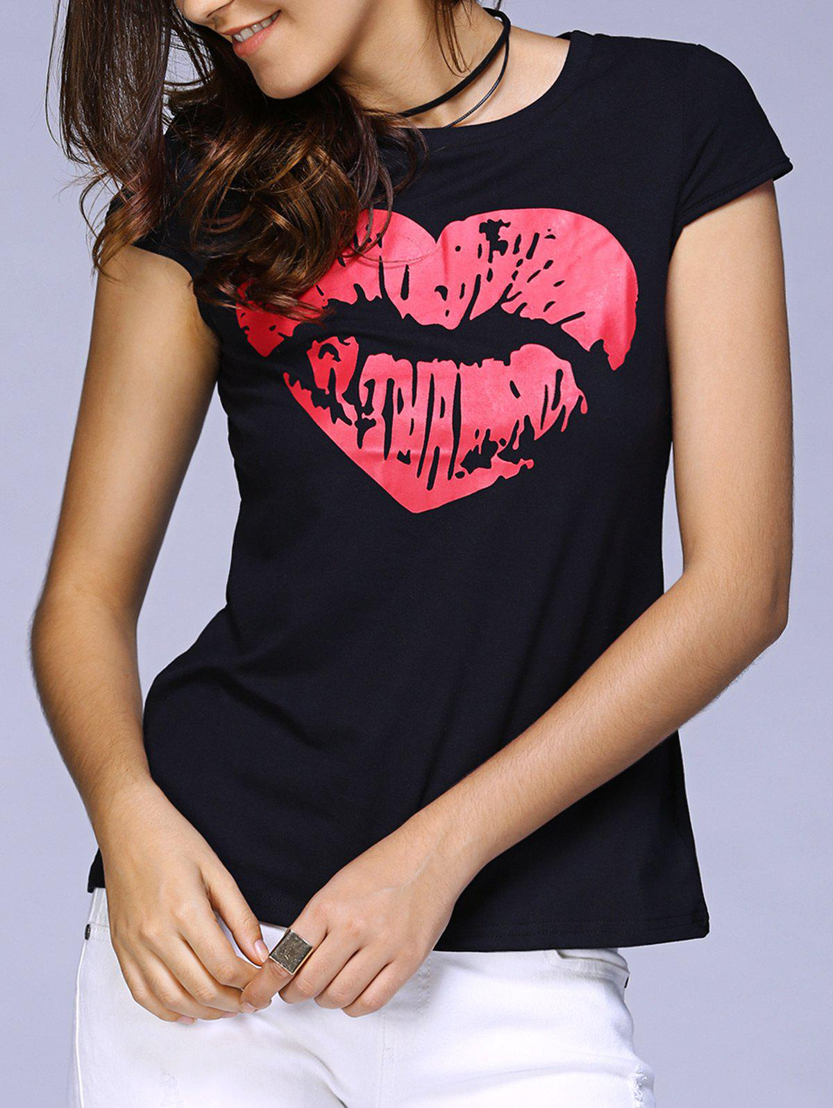 Casual Round Neck Short Sleeve Lip Print T-Shirt For Women - BLACK XL