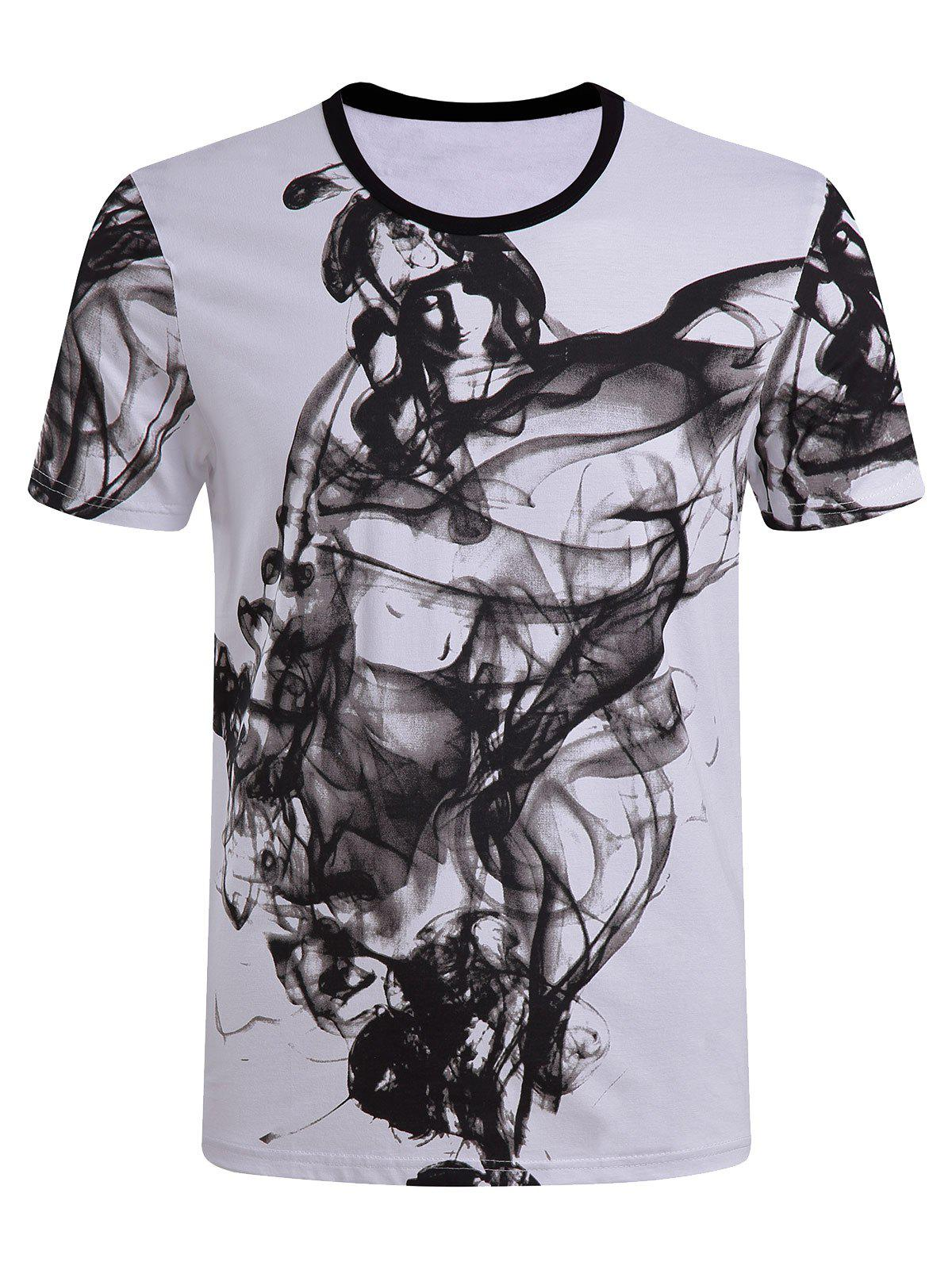 Men's Casual Short Sleeves Painting Round Collar T-Shirt - WHITE 4XL