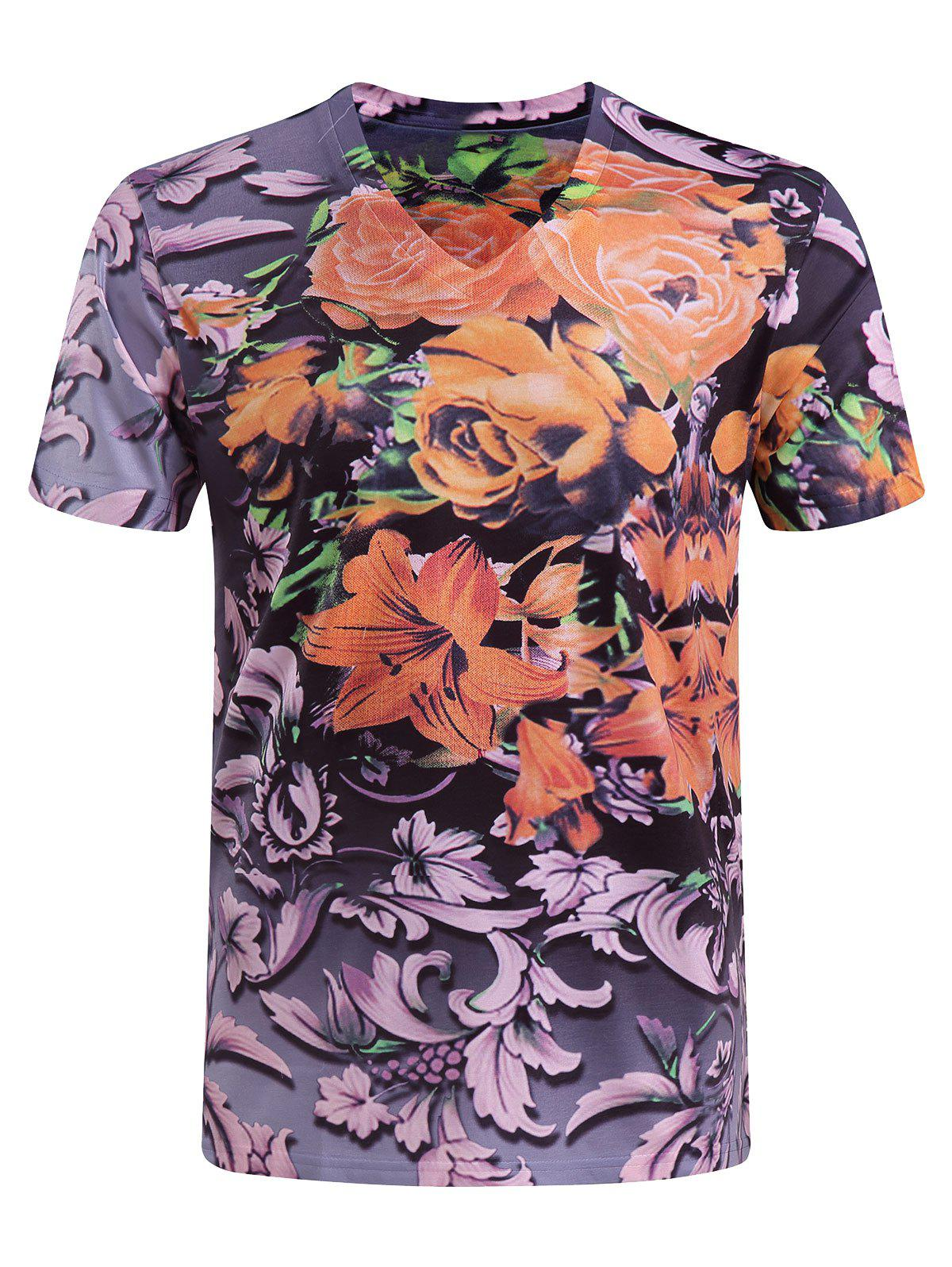 Men's Casual Short Sleeves Flower Printing V-Collar T-Shirt - COLORMIX M