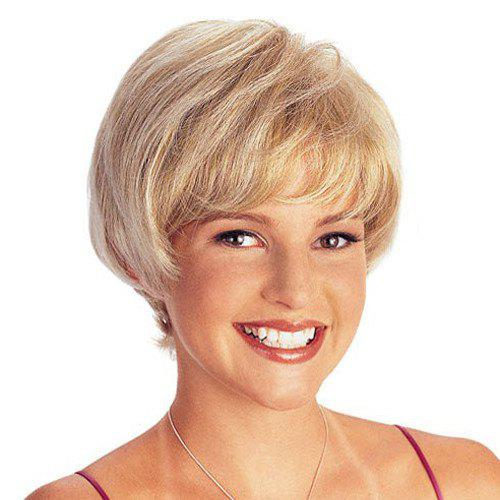 Elegant Light Blonde Mixed Straight Short Capless Synthetic Wig For Women - COLORMIX
