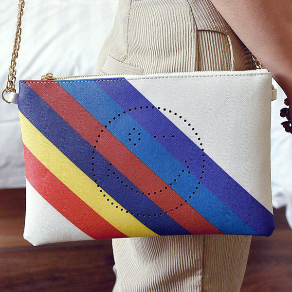 Stylish Smiley Face and Rainbow Color Design Women's Clutch Bag - WHITE