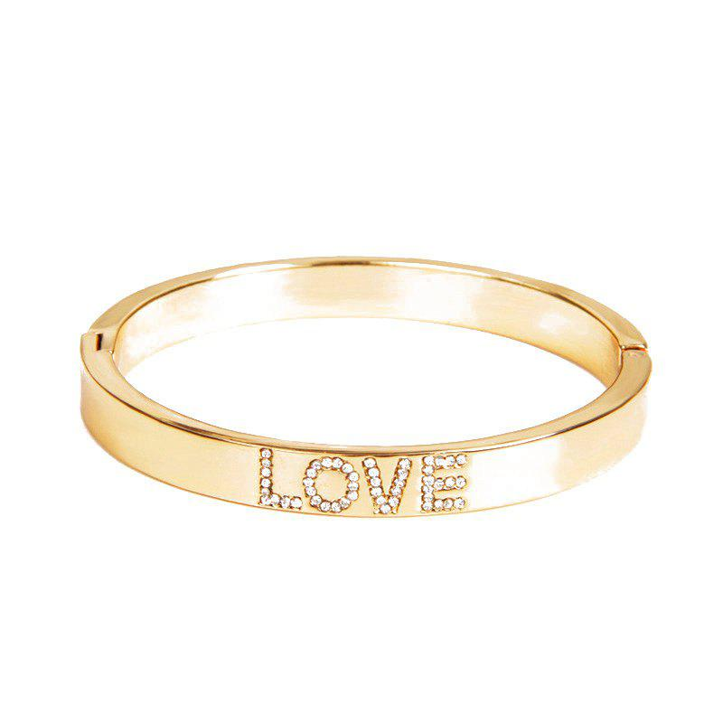 Rhinestone LOVE Gold Plated Bracelet - GOLDEN