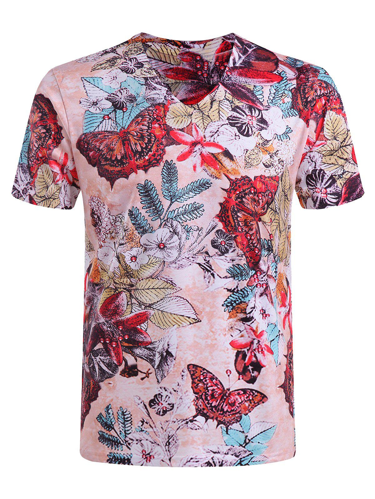 Men's Casual Short Sleeves Butterfly Printed V-Collar T-Shirt - COLORMIX 4XL