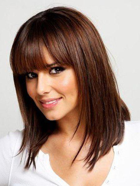 Stylish Full Bang Brown Synthetic Silky Straight Capless Medium Wig For Women