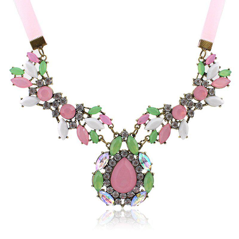 Sweet Diamante Colored Faux Gemstone Embellished Waterdrop Shape Pendant Necklace For Women - AS THE PICTURE