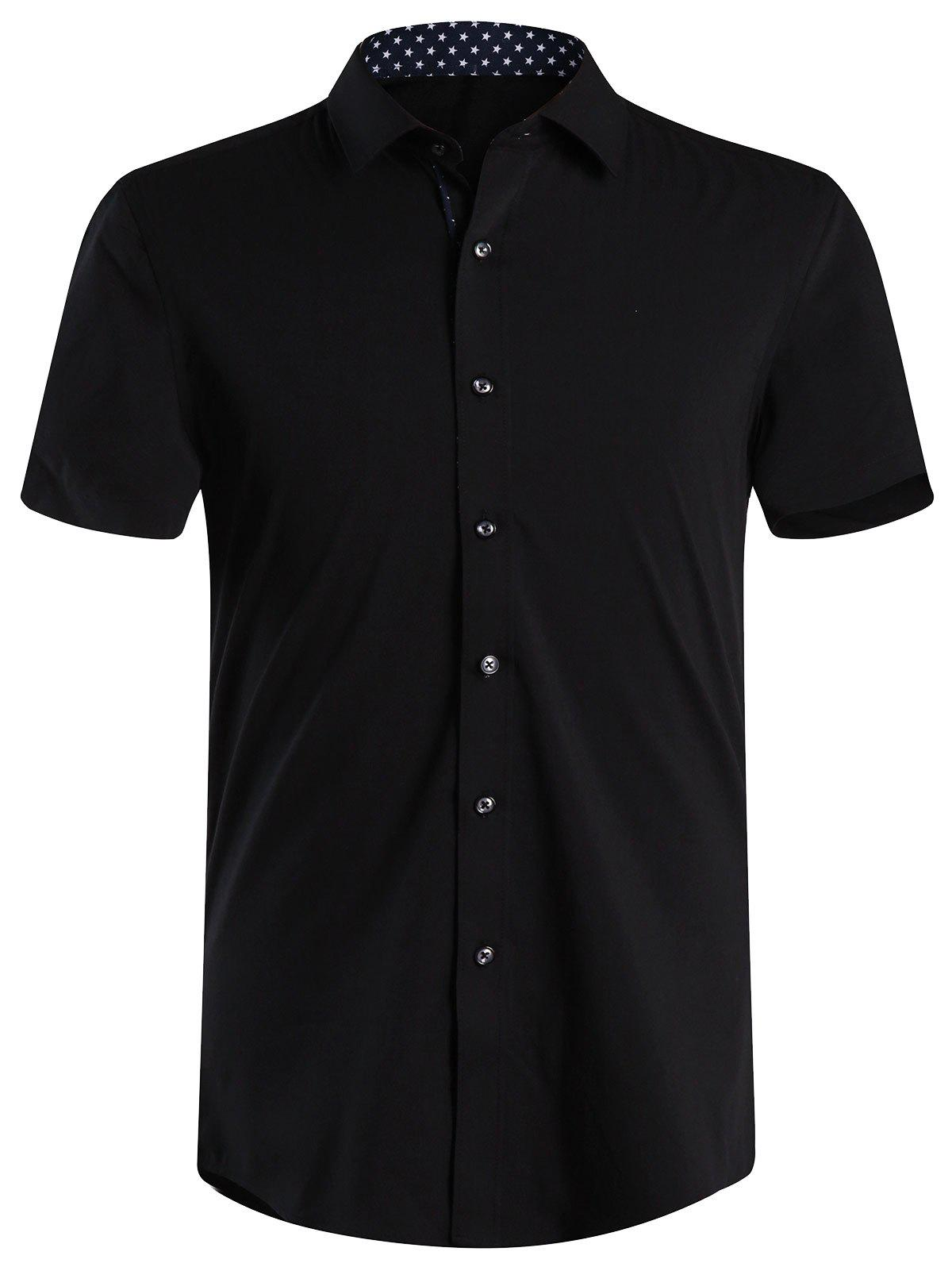 Personality Top Fly Solid Color Slimming Men's Shirt Collar Short Sleeves Shirt - BLACK XL