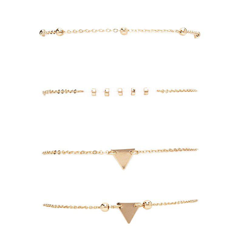 A Suit of Bead Triangle Bracelets - GOLDEN