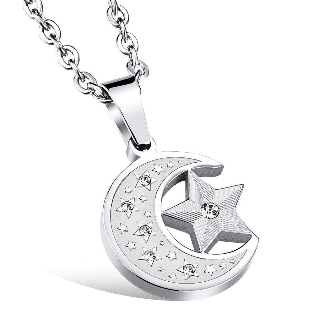Graceful Rhinestone Star Moon Necklace For Women - SILVER